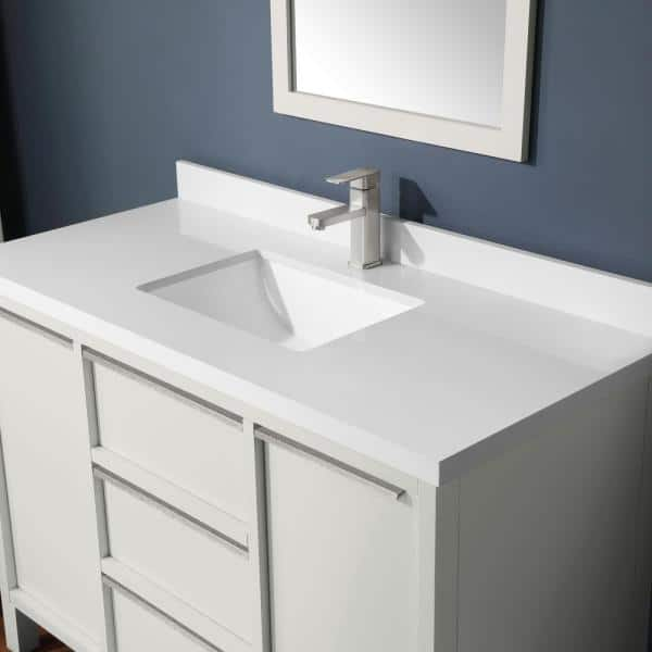 Martha Stewart Living Hudson 48 In Bath Vanity White Picket Fence With Cultured Marble Top Basin 15vva Huds48 07 The Home Depot