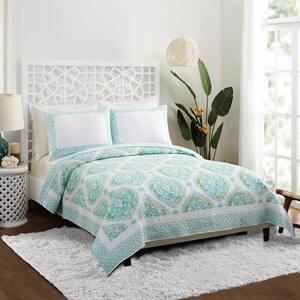 Bohemian Breeze Aqua King Cotton Quilt (Set of 3)