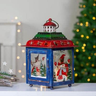 11 in. Green Red and Blue Snowman Christmas Candle Lantern