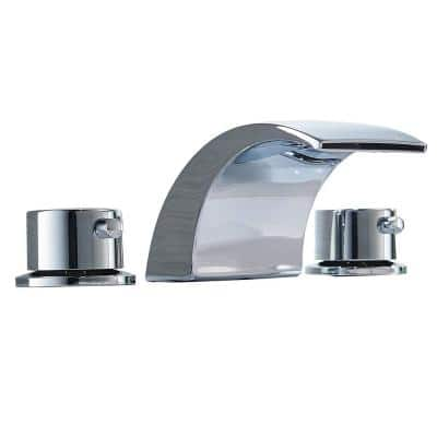 8 in. Widespread Double Handle Waterfall Bathroom Faucet with Supply Lines in Polished Chrome