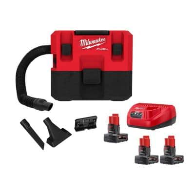 M12 FUEL 12-Volt 1.6 Gal. Lithium-Ion Cordless Wet/Dry Vacuum Kit with 3 Batteries and Charger