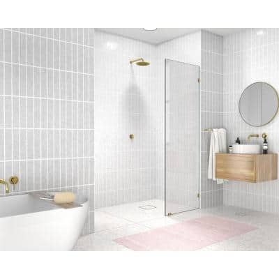 16 in. W x 78 in. H Single Fixed Panel Frameless Shower Door Polished Brass