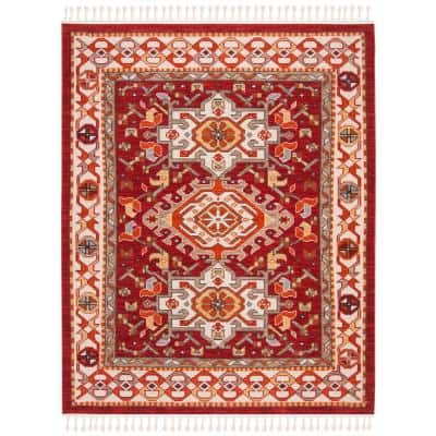 Farmhouse Ivory/Red 9 ft. x 12 ft. Floral Area Rug