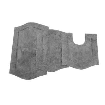 Waterford Collection Grey 17 in. x 24 in. / 21 in. x 34 in. / 20 in. x 20 in. Bath Rug Set