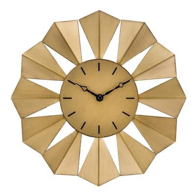 12.8 in. Gold Metal Sunray Quartz Wall Clock