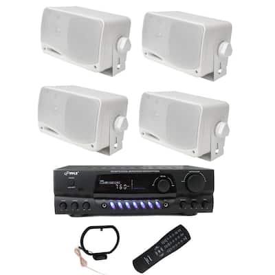 Four 200-Watt Outdoor Speakers Plus PT260A 200-Watt Stereo Theater Receiver