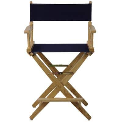 24 in. Extra-Wide Natural Wood Frame With Navy Canvas Seat Folding Directors Chair