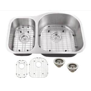 Undermount 18-Gauge Stainless Steel 31-1/2 in. 0-Hole 30/70 Double Bowl Kitchen Sink with Grid Set and Drain Assemblies