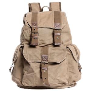 15 in. H Khaki Sport Canvas Backpack Rucksack