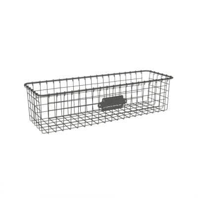 16 in. D x 5.5 in. W x 4 in. H Industrial Gray Vintage Steel Wire Storage Basket