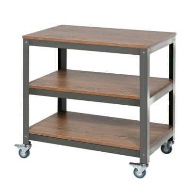 29.7 in. Brown/Gray Metal 3-shelf Cart Bookcase with Open Back
