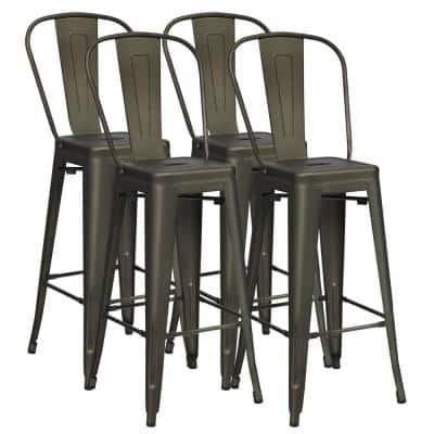 Gun 4-Piece 30 in. High Back Metal Industrial Bar Stools with Top and High Backrest