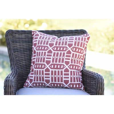 Roland Red Square Outdoor Accent Throw Pillow