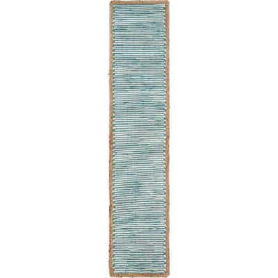 Bordered 16 in. W x 80 in. L Striped Blue / Cream Cotton Table Runner