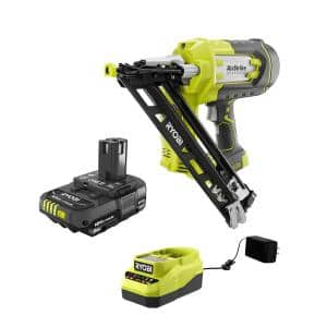 ONE+ 18V Cordless AirStrike 15-Gauge Angled Finish Nailer and 2.0 Ah Compact Battery and Charger Starter Kit
