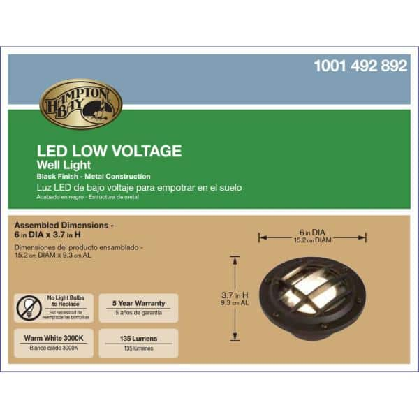 Hampton Bay Low Voltage Black Outdoor Integrated Led Landscape Well Light Hd38725 The Home Depot
