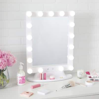 15.75 in. x 22 in. Hollywood Lighted Dimmable Freestanding Vanity Mirror
