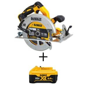 20-Volt MAX XR Cordless Brushless 7-1/4 in. Circular Saw with (1) 20-Volt Battery 6.0Ah