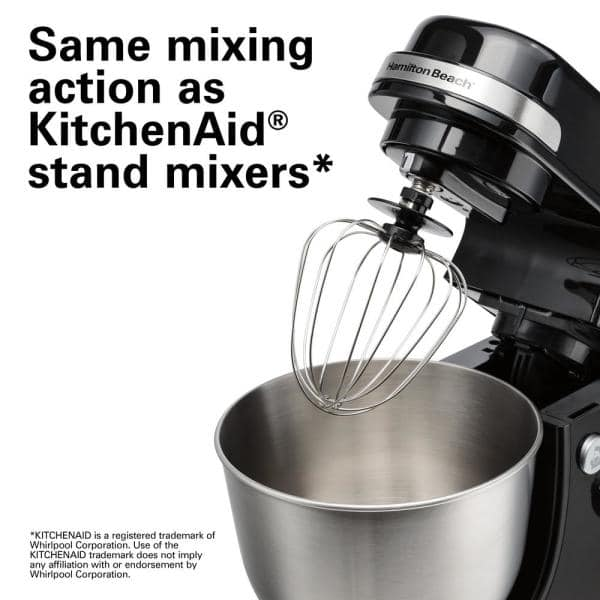 Hamilton Beach - 4 qt. 7-speed Black Stand Mixer with Dough Hook, Whisk and Flat Beater Attachments