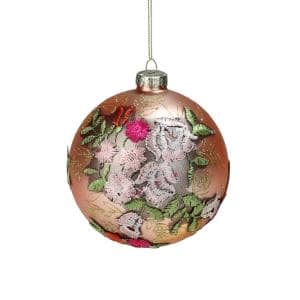 4.5 in. Pink Floral Applique Glass Ball Christmas Ornament