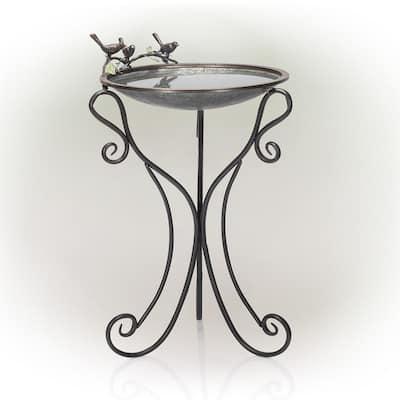 36 in. Tall Outdoor Antique Style Galvanized Metal Birdbath Bowl with Bird Figurines