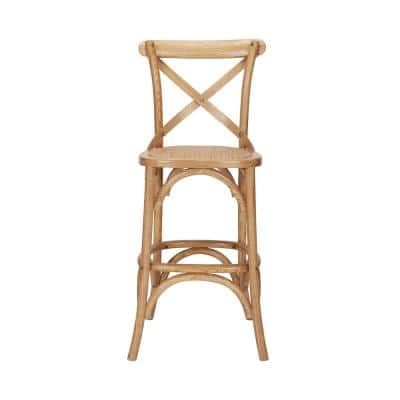 Mavery Patina Oak Finish Wood Counter Stool with Woven Seat and Cross Back (18 in. W x 40 in. H)