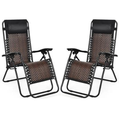 Mix Brown Zero Gravity Foldable Metal Wicker Outdoor Foldable Lounge Chair (2-Pack)