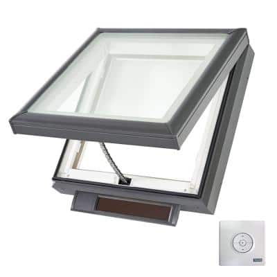 22-1/2 in. x 22-1/2 in. Solar Powered Fresh Air Venting Curb-Mount Skylight with Laminated Low-E3 Glass