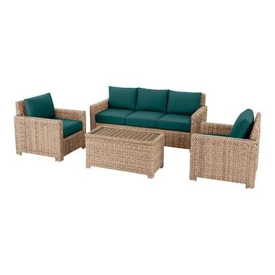 Laguna Point 4-Piece Natural Tan Wicker Outdoor Conversation Seating Set with CushionGuard Malachite Green Cushions