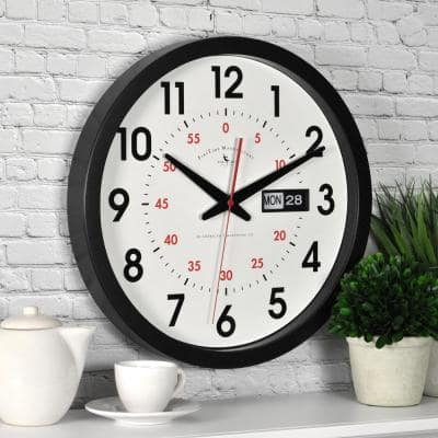 14 in. x 14 in. Round Day Date Wall Clock