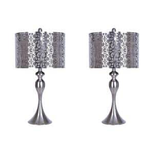27 in. Brushed Nickel Table Lamp with Curvy Body and Brushed Nickel Grey Shades (2-Pack)