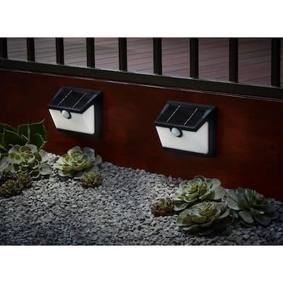 300 Lumens Connected Solar Black Motion Sensing LED Deck Light (2-Pack)