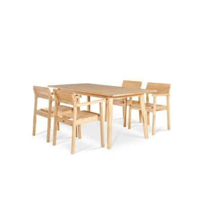Modurn 5-Piece Teak Rectangular Table Outdoor Dining Set with Stacking Armchairs