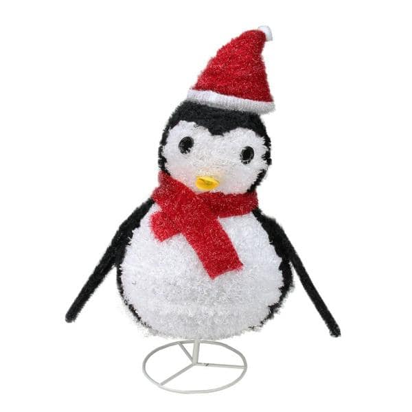 Northlight 32 in. Christmas Lighted Chenille Penguin Outdoor Decoration | The Home Depot