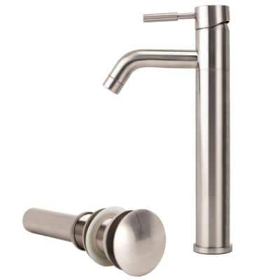 New European 1-Hole 1-Handle Low-Arc Bathroom Vessel Faucet with Drain Assembly in Brushed Nickel