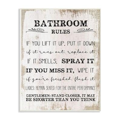 "10 in. x 15 in. ""Bathroom Rules Wood"" by Daphne Polselli Wood Wall Art"