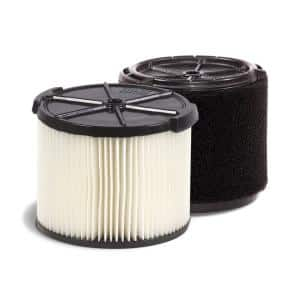 Standard Pleated Paper Filter and Wet Application Foam Filter for 3 to 4.5 Gal. RIDGID Wet/Dry Shop Vacuums