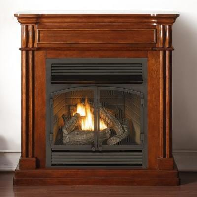 Duluth Forge Dual Fuel Ventless Gas Fireplace - 32,000 BTU, T-Stat Control, Autumn Spice Finish