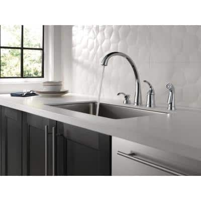 Pilar Waterfall Single-Handle Standard Kitchen Faucet with Side Sprayer and Soap Dispenser in Chrome