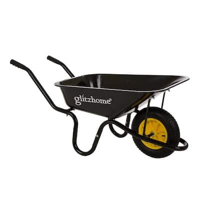 4.7 cu. ft. Black Steel Framed Plastic Garden Wheelbarrow Utility Dump Cart