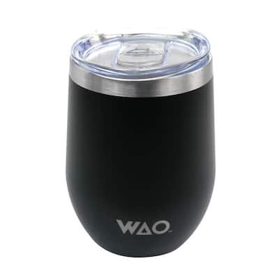 12 oz. Black Stainless Steel Travel Mug with Lid