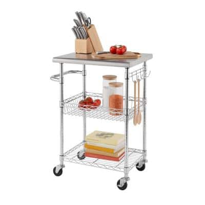 EcoStorage Chrome Color 24 in. Stainless Steel NSF Kitchen Cart