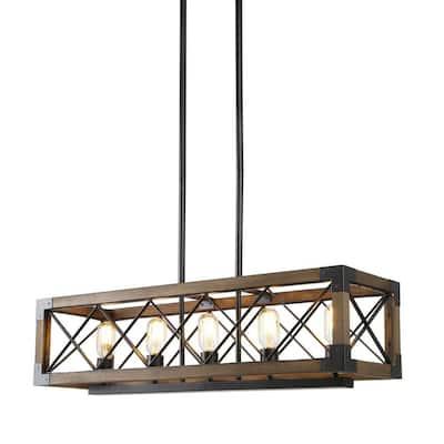 Colorado 5-Light Black Modern Farmhouse Rectangular Box Dining Room Chandelier