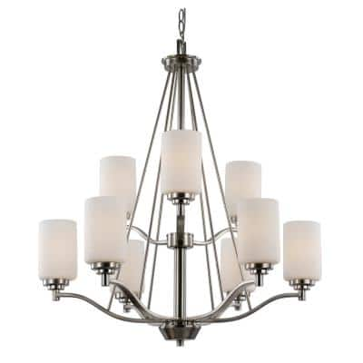 Mod Pod 9-Light Brushed Nickel Tiered Chandelier with Frosted Glass Cylinder Shades