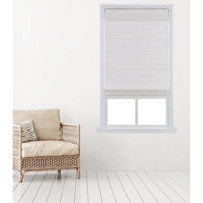 White Cordless Carbonized Bamboo Roman Shade 23 in. W x 64 in. L