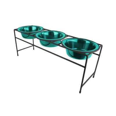 Modern Triple Diner Feeder with Stainless Steel Cat/Dog Bowls, Copper Vein