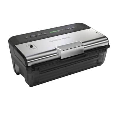 NutriFresh Black and Silver Food Vacuum Sealer with 2-Roll Storage and Starter Kit