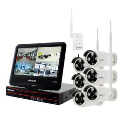 8-Channel True HD 2TB HDD Wireless CCTV with 6-Autopair Weatherproof IR Cameras Built-In Monitor and Router