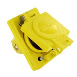 20 Amp Wetguard Industrial Grade Locking Grounding Single Outlet, Yellow