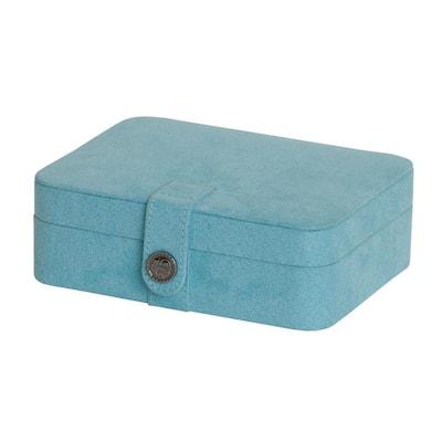 Giana Aqua Plush Fabric Jewelry Box